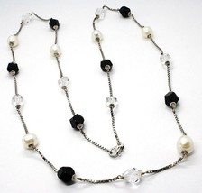 SILVER 925 NECKLACE, PEARLS, NUGGETS BLACK AND TRANSPARENT, LENGTH 85 CM - $128.65