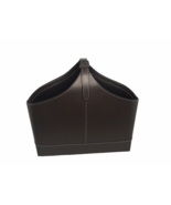 Crate & Barrel Brown Leather Magazine Tote with Buckle Storage Bin Bag B... - $39.60