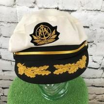 Ship Captain Mens One Sz Hat Nautical Sailor Costume Snapback Cap Flaw - $14.84
