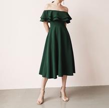 Women Off Shoulder Chiffon Midi Cocktail Dress, Burgundy Dark Green Blush White image 9