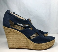 Michael Kors Womens Damita Platform Wedge Sandals Blue Espadrille Zipper 7.5 M - $20.78