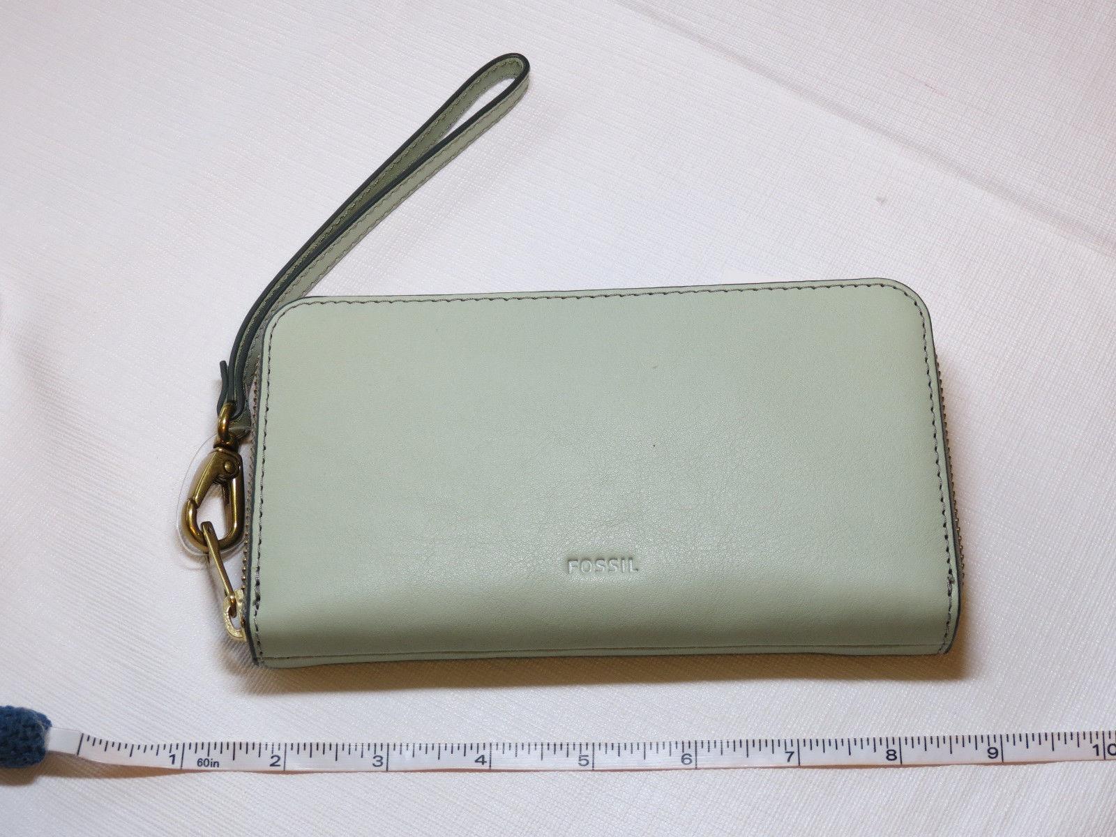 Fossil SL7151336 RFID Emma Smartphone Wristlet Lght Sage wallet clutch leather*^