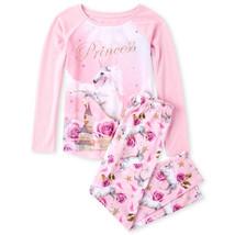 NWT The Childrens Place Princess Unicorn Girls Pink Long Sleeve Pajamas Set - $12.99