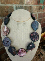 HANDMADE ROUGH ROCK  POLISHED BLACK PINK GRAY AGATE NUGGETS STATEMENT NE... - $30.68