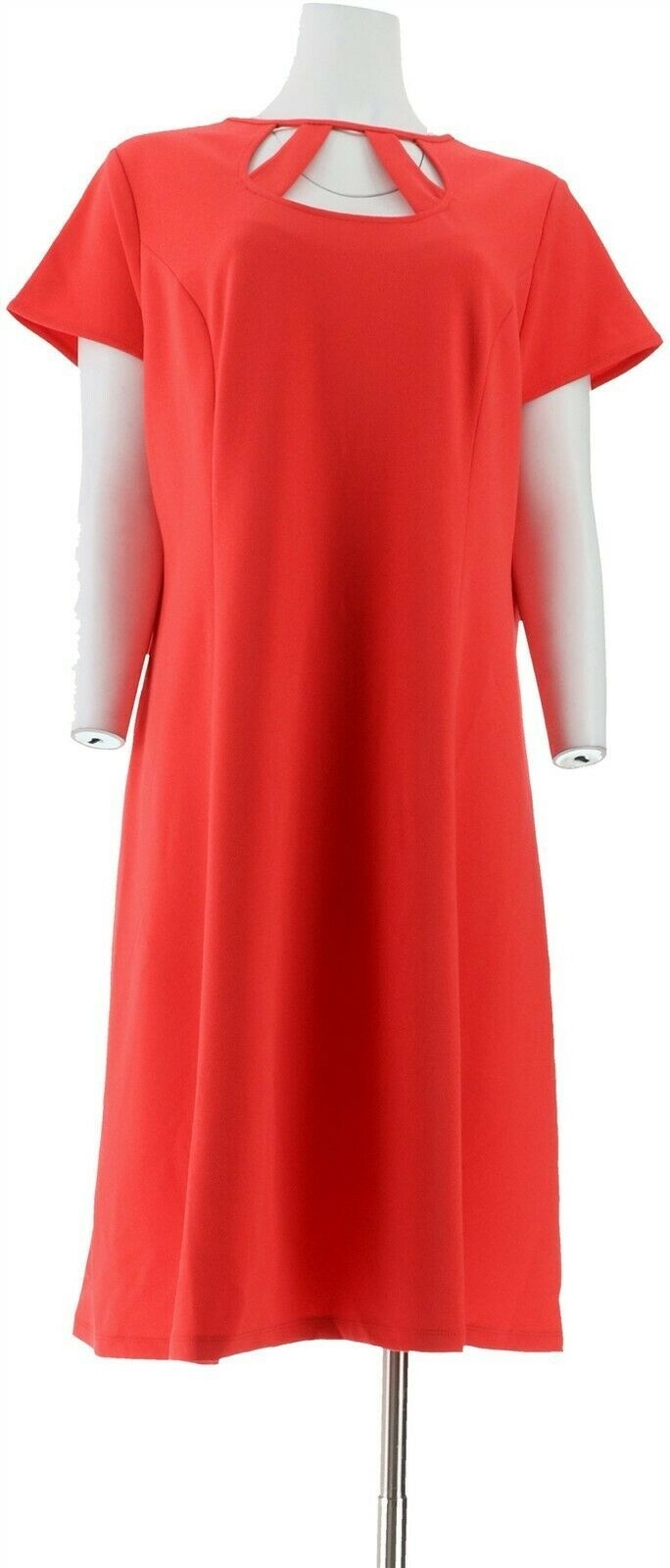 Primary image for Dennis Basso Luxe Crepe Dress Cut-Out Neck Back Zipper Coral Reef 6 NEW A307233