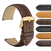 WOCCI Watch Strap Brown Genuine Leather Watchbands With Golden Buckle 20... - $14.99