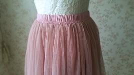 DUSTY PINK Tulle Midi Skirt Women High Waist Dusty Pink Tutu Midi Cocktail Skirt image 7