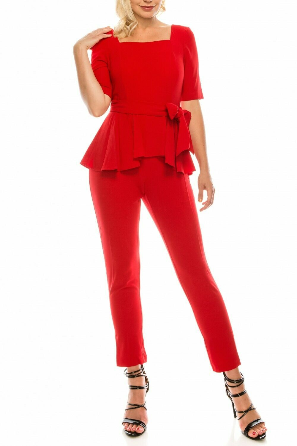 Primary image for Flirty Gabby Skye Regal Red Square Neckline Peplum Jumpsuit, 8-16