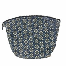 Vera Bradley Designs Cosmetic Bag Makeup Zip Case Lined Blue White  11 X 8 - $12.60