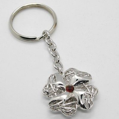 KEYRING ARGENTO 925 PENDANT FOUR-LEAF CLOVER BY MARIA IELPO, MADE IN ITALY