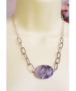 marble stone pendant necklace gemstone handmade... - $5.99