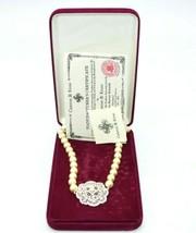 "CAMROSE KROSS JBK Silver Tone Faux Pearl Rhinestone Accented Necklace 30"" - $98.99"