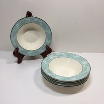 "5 Dessert Rimmed Bowls Romance Cavalier Eggshell Homer Laughlin 6"" Turqu... - $24.18"