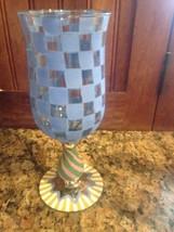 MACKENZIE CHILDS Water Wine RARE VINTAGE GOBLET CIRCUS CHECK BLUE - 7 av... - $118.80