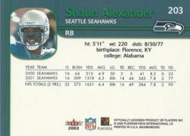 2002 Fleer Maximum #203 Shaun Alexander  image 2