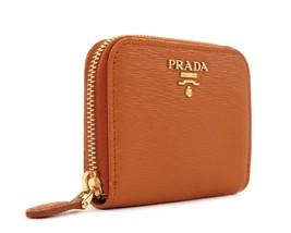 Prada Mini Wallet Vitello Move Leather Orange New - $252.45