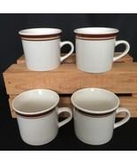 Lot of 4 Brickoven Stoneware Coffee Tea Mug Cup Ivory Brown Stripe Vintage - $26.79