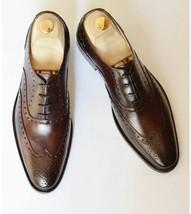 Handmade Men's Brown Heart Medallion Wing Tip Dress/Formal Leather oxford Shoes image 4
