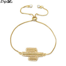 Pipitree Lovely Full Cz Stones Paved Cactus Charm Bracelet Jewelry Women... - $9.60
