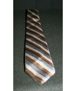 Christian Dior Paris New York Brown Gray Tan Striped Men's Neck Tie - $19.95