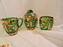 4 Pcs Green Pressed Glass Gold Floral Decoration Sugar Creamer Tumbler A... - $31.96