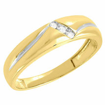 14k Yellow Gold Over 925 Solid Silver Mens 3 Stone Wedding Anniversary Ring Band - $82.99