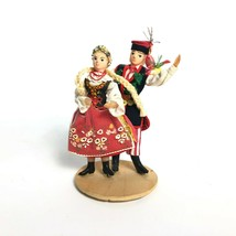 Spoldzielnia Pracy Handmade Polish Dance Couple Dolls On Wood Stand - $12.61