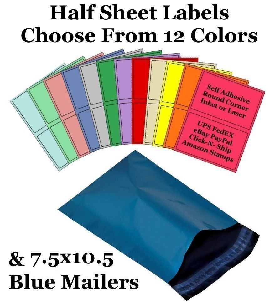 7.5x10.5 Blue Mailers + 8.5x5.5 Color Half Sheet Self Adhesive Shipping Labels