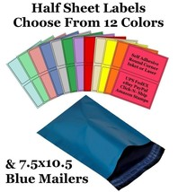 7.5x10.5 Blue Mailers + 8.5x5.5 Color Half Sheet Self Adhesive Shipping ... - $2.99+