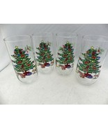 Christmas Tree with Toys - a colorful set/lot of 4 Water glasses/Tumbler... - $16.83