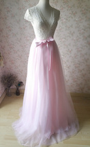 Floor Length Pink Tulle Skirt Pink Long Tulle Skirt Outfit Plus Size image 6
