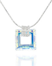 Square Pendant Made with Original Swarovski AB Crystal 925 Sterling Silv... - $130.88