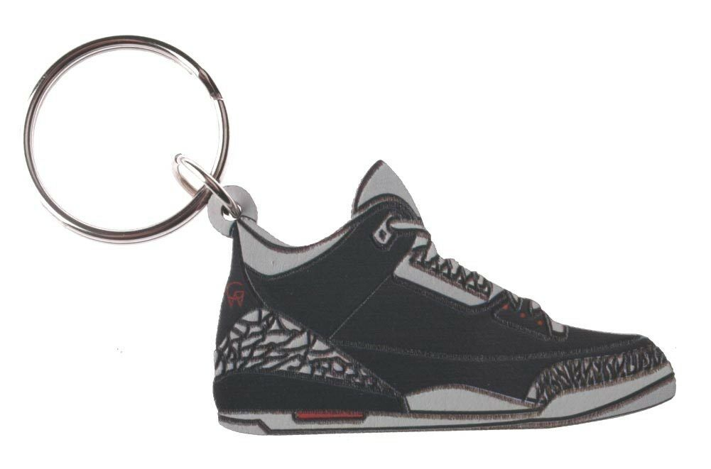 Good Wood NYC Black Cement 3 Sneaker Keychain Wht/Blk III Shoe Key Ring Key Fob