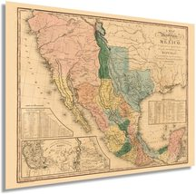 1846 United States of Mexico Map Poster - Vintage Map of Mexico Wall Art - Old U - $34.99+