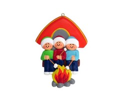FAMILY OF 3 CAMPING GIRLS BOYS GRANDKIDS CAMPERS CHRISTMAS TREE ORNAMENT... - $11.73