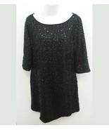 Nine West Womens Sz 14 Dress Black Sequin Circles Short Sleeve Evening B11 - $24.99