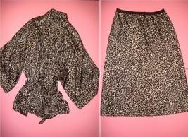 Victoria's Secret M SKIRT+gown kimono ROBE animal print CHEETAH gray black beige - $69.29