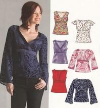 Misses TIE-BACK TOPS 6 Styles Neck Sleeve Variations | 8-18 UNCUT Sewing Pattern - $12.81