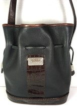Vintage Black Leather with Brown Reptile Print Trim Bucket Shoulder Bag - $53.34