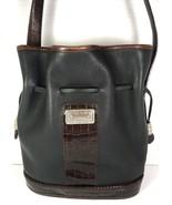 Vintage Black Leather with Brown Reptile Print Trim Bucket Shoulder Bag - $53.34
