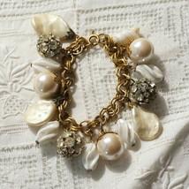 Vintage OOAK  Recycled Pearl Rhinestone Ball Iridescent Glass Charm Bracelet - $95.00