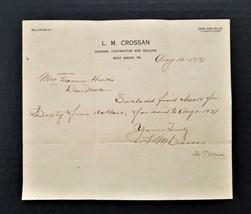 1921 antique WEST GROVE pa L M CROSSAN builder receipt Francis Hicks #1 - $22.50
