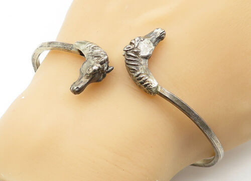 Primary image for 925 Sterling Silver - Vintage Horse's Head Detailed Smooth Cuff Bracelet - B6441
