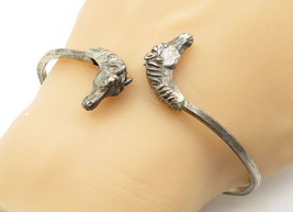 925 Sterling Silver - Vintage Horse's Head Detailed Smooth Cuff Bracelet... - $71.77