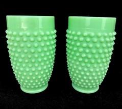 Pair Martha Stewart Jadeite Green Glass Hobnail Tumblers Glasses LE Smit... - $46.71