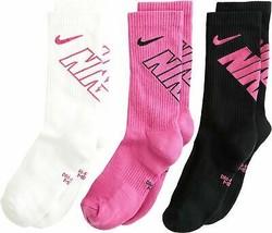 Nike Youth 3PK Crew Socks Pink/Black/White 5Y-7Y SX6959-932 - $19.99