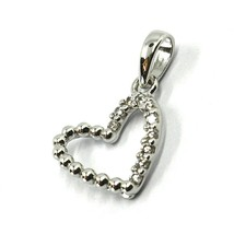 SOLID 18K WHITE GOLD PENDANT MINI HEART WITH CUBIC ZIRCONIA, 10mm, 0.4 inches image 2