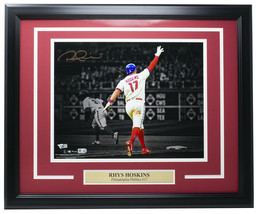 An item in the Collectibles category: Rhys Hoskins Philadelphia Phillies Signed Framed 11x14 Spotlight Photo Fanatics