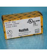 Qualtek  Q-710 Plug 15A 125VAC WIRING DEV 2-Pole 3-Wire NEMA 5-15P Black - $8.45