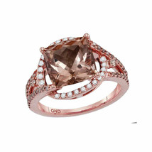 14kt Rose Gold Womens Cushion Morganite Diamond Solitaire Ring 4.00 Cttw - £1,444.20 GBP